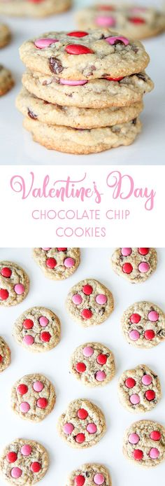These Valentines Day Chocolate Chip Cookies are soft and chewy, and decorated with red & pink smarties, they're perfect for Valentines Day! Valentines Day Chocolate Chip Cookies, Valentines Day Chocolates, Valentines Day Desserts, Best Chocolate Chip Cookie, Valentine Cookies, Chocolate Cookies, Holiday Cookies, Cookies For Kids, Cute Cookies