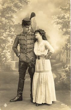 Pre WWI Austro-Hungarian Hussar and His Lady Love