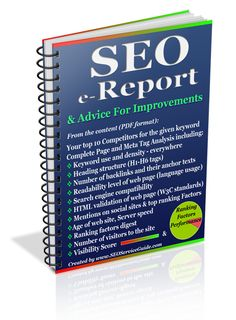 SSG SEO e-Report & Advice For Improvements