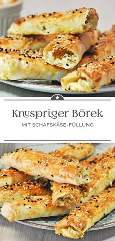 Crispy borek with feta - Crispy Börek with sheep& cheese filling. Pizza Recipes, Veggie Recipes, Gourmet Recipes, Healthy Recipes, Healthy Appetizers, Appetizer Recipes, Sheep Cheese, Spinach And Feta, Bbq Ribs