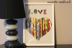 Diy : Un tableau plein d'amour par petits-canaillous.fr Love, Parents, Home Decor, Club, Decoration, Old Magazines, Paper Strips, Creative Crafts, Board