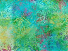 WtW Estate Fabric Batik Watercolor Dragonfly Bug Nature Garden Swirl Quilt