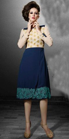 Dynamic Navy Blue And Cream Georgette Kurti