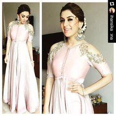 The lovely Hansika Motwani in our latest collection! Styled by : Neeraja Kona with ・・・ with ・・・ In a fresh off the runway & . looks radiant for Manithan promotions. Indian Gowns, Indian Attire, Indian Ethnic Wear, Indian Outfits, Red Lehenga, Lehenga Choli, Anarkali, Churidar, Sarees