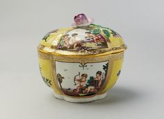 Sugar bowl with cover Factory: Doccia manufactory Factory director: Marchese Carlo Ginori Maker: Manner of Jacques Stella (French, Lyons 1596–1657 Paris) Date: ca. 1750–55 Culture: Italian, Florence Medium: Hard-paste porcelain