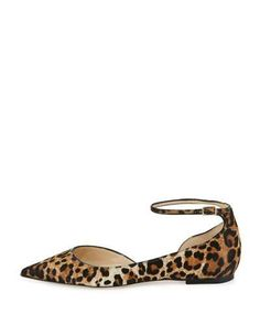 S0F5A Jimmy Choo Lucy Leopard-Print Calf Hair Ankle-Strap Flat, Natural