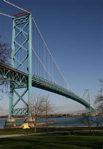 The Ambassador Bridge was built in 1929 and spans the Detroit River. Travel it to get to Windsor, Ontario, Canada.