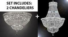 "Set Of 2 - French Empire Crystal Chandelier Lighting H36"" W30"" + Flush Basket French Empire Crystal Chandelier Lighting H22"" W30"" - Good For The Dining Room, Foyer, Hallway, Bedroom, Kitchen! - 1Ea-Silver/454/14+1Ea-Flush/Cs/454/14"