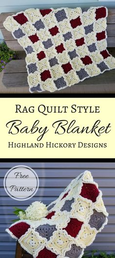Rag Quilt Style Baby Blanket, free pattern.