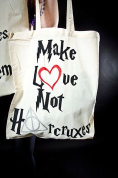 Hand painted Harry Potter Make Love Not Horcruxes Tote Bag. $20.30, via Etsy.