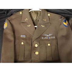 COMPLETE WWII U.S. 8TH AIR FORCE UNIFORM LOT-WINGS,BARS Pilot Uniform, Uniform Shirts, Air Force Uniforms, American Uniform, American Air, Military Jacket, Military Uniforms, Major Events, Long Pants