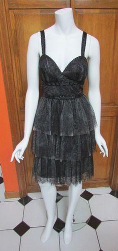 ML Monique Lhuillier Black Lace Sweetheart Tiered Cocktail Dress Sz 12 NWT $598 #MoniqueLhuillier #Tiered #Cocktail