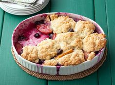Blueberry and Nectarine Cobbler from FoodNetwork.com (I will be using some of the peaches I froze)