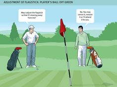 """""""When making a stroke on the putting green, you should ensure that the flagstick is removed or attended. The flagstick may also be removed or attended when the ball lies off the putting green"""""""