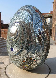 Mirror Egg    Sculpture in American Visionary Arts Museum sculpture garden