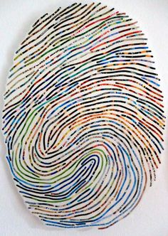 Thumbprint portraits use your own thumbprint to create a large (three feet high!), modern, colorful work of art that will be absolutely YOU. I will use own thumbprint and recreate its unique patterns using snippets of imagery, text and color from your favorite things (you'll provide a list and I'll pore through the library, google image search, pinterest, etc. to gather pictures). Etsy