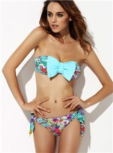 aa6ae7485a787 Lovely Lake Blue with Bow Knot Strapless Bikini Set Swimwear 2015