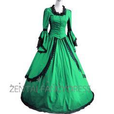 女性花边领长袖落地哥特式的维多利亚绿色连衣裙