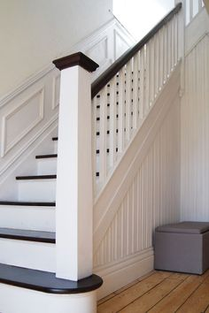 One Year Later – Living With A Painted & Stained Staircase - One Year Later – Living With A Painted & Stained Staircase painted stairs & sanded floor Black Stairs, White Staircase, House Staircase, Staircase Remodel, Staircase Makeover, Modern Staircase, Staircase Design, Black Painted Stairs, Black Banister