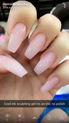 Pink gel nails, pink clear nails, acrylic nails coffin pink, soft p Pink Clear Nails, Pink Gel Nails, Black Nails, Pastel Nails, Soft Pink Nails, Glitter Nails, Light Pink Nails, Pink Powder Nails, Coffen Nails