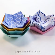 "*****If you use an 8.5"" square, this yields a perfect cupcake wrapper.  Origami Flower Bowl Tutorial - cute for place settings or party favors Origami Bowl, Origami Paper Folding, Cute Origami, Paper Folding Ideas, Paper Crafts Origami, Kids Origami, Useful Origami, Origami Ideas, Fabric Origami"