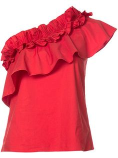 Red one shoulder cotton-blend frill asymmetric blouse from Saloni. Blouse Dress, Ruffle Blouse, Ruffle Top, Miami Fashion, Girl Fashion, Luisa Lion, Red Off Shoulder Top, Frill Tops, Beautiful Blouses