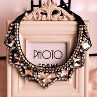 1pcs New 2014 Fashion Jewelry For Women Black Base Shiny Crystal Beads False Collar Necklaces,$4.93 / piece