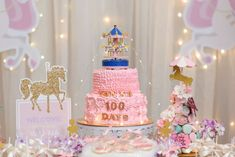 The birthday cake at this Carousel birthday party is gorgeous!! See more party ideas and share yours at CatchMyParty.com #catchmyparty #carousel #cake #girlbirthdayparty