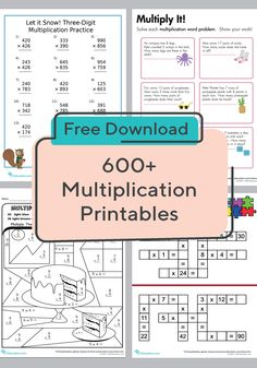 These multiplication worksheets cover everything from times tables to multiplying with decimals. We feature multiplication worksheets for kids of every level. Multiplication Practice, Free Multiplication Worksheets, Free Printable Worksheets, Multiplication Strategies, Free Printables, Math Classroom, Math Math, Math Fractions, Third Grade Math