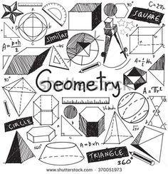 Geometry math theory and mathematical formula doodle handwriting icon in white isolated background with hand drawn geometric model used for school education and document decoration, create by vector
