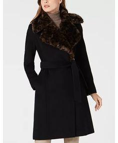 Via Spiga Belted Faux-Fur-Leopard-Collar Coat & Reviews - Coats - Women - Macy's Faux Fur Collar, Fur Collars, Unisex Baby Clothes, Winter Coats, Leggings Are Not Pants, Jacket Dress, Coats For Women, Lust, Passion