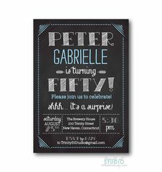 Chalkboard Birthday Party Invitation -BIG One Milestone 30th 40th 50th 60th