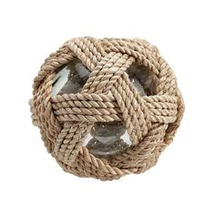 Pottery Barn Recycled Glass Ball with Abaca Rope (64 CAD) ❤ liked on Polyvore featuring home, home decor, fishing home decor and pottery barn