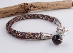 Viking Weave Beaded Bracelet  Brown Viking by BeauBellaJewellery #vikingknit #vikingweave #wirework #bracelet #jewelry #brown #beads #etsy #handmade