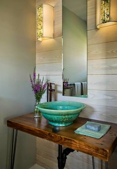 I love the sink in this bathroom by Martha's Vineyard Interior Design. Via House of Turquoise.