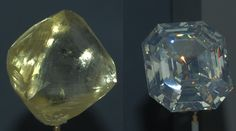 "The diamond (left) is the Oppenheimer Diamond from Dutoitspan mine, Kimberley, South Africa. It is remarkable not only for its size, 253.7 carats, but also because it has survived uncut. || The diamond (right) is the ""Portuguese Diamond"". It is of size 127.01 carats and is of unknown origin. It is the largest cut diamond in the Smithsonian collection. 