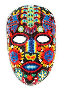 SACRED BLUE DEER Mexican HUICHOL INDIAN BEADED MASK Wall Decor