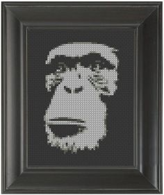 """Monkey Face'"" - From CrassCross. The cross stitch pattern to make this piece is available for just $5. http://crasscross.com/collections/miscellaneous/products/monkey-face-cross-stitch-pattern-chart"
