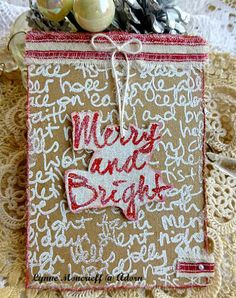 Card by Lynne Moncrieff using Darkroom Door Brushed Christmas Vol 1 Rubber Stamps and Christmas Script Background Stamp. http://www.darkroomdoor.com/background-stamps/background-stamp-christmas-script