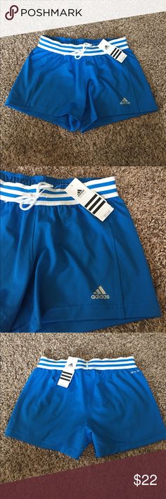 Adidas Shorts Cute blue and white adidas shirts. Brand new with tags. ✔️Top 10% seller! ✔️Fast shipper- guaranteed to ship same or next day  ✔️Perfect ratings! You can trust my items to be in the condition they are listed.   💕Ask questions before buying!  💕Make offers! But please be fair, don't lowball- it's rude.  ❌❌❌NO TRADES❌❌❌ Adidas Shorts