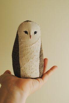 Baby barn owl soft sculpture / textile art / stuffed animal / soft toy by willowynn on Etsy