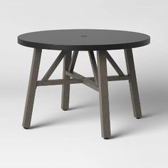 Concrete & Faux Wood 4 Person Round Patio Dining Table - Smith & Hawken™ : Target