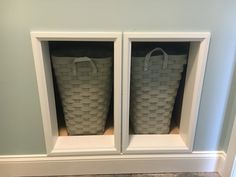 Laundry Pass-Through: The closet and laundry room share a wall, so the areas between the studs are trimmed out. The laundry baskets sit right inside a cabinet in the laundry room.