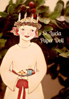 Lily & Thistle: St. Lucia Bringer of Light,  sweet downloadable paper doll.