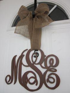 Family Initial Monogram Door Decor by CarolinaMoonCrafts on Etsy, $45.00...love monograms!