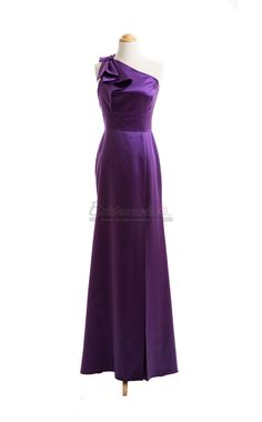 One Shoulder Long Satin Grape Vintage Bridesmaid Dress in Purple Dresses BDS-CA036 - BridesmaidCA.com