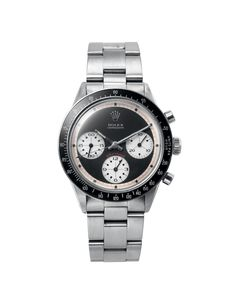 Shop - Vintage Watches - Rolex - Paul Newman Rolex Daytona Watch - Silver Band Black Dial - Man Of The World Magazine