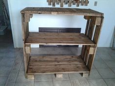 recycled pallet bookshelf or console table
