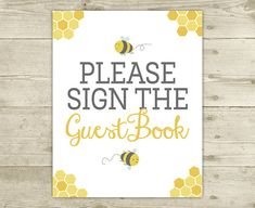 Bee Baby Shower  Guestbook Sign  INSTANT by CelebrateBabyCo