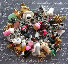 DIY your photo charms, compatible with Pandora bracelets. Make your gifts special. Make your life special! Coffee Charms on a Vintage Sterling Bracelet Clay Donuts Strawberries Chocolate Yum! Vintage Charm Bracelet, Silver Charm Bracelet, Silver Charms, Vintage Jewelry, Handmade Jewelry, I Love Jewelry, Charm Jewelry, Jewelry Making, Jewelry Bracelets